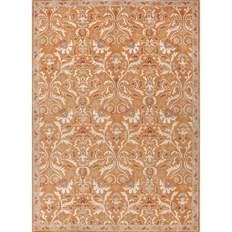 Ivory Wool Rug 8 X 10 by Jaipur Rugs Poeme 8 X 10 Tufted Wool Rug In Orange