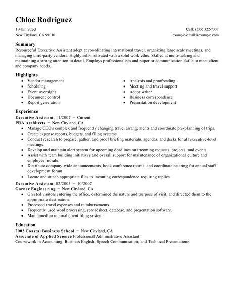 Resume For Hotel Administrative Assistant Best Executive Assistant Resume Exle Livecareer