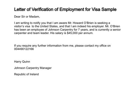 Visa Letter Employment Verification Letter Of Verification Of Employment