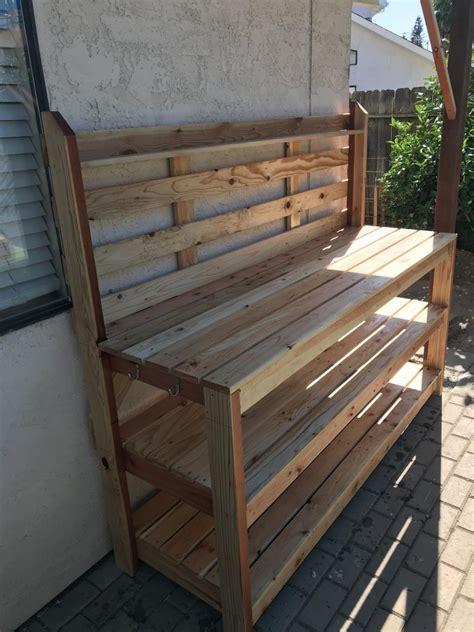 redwood potting table ana white