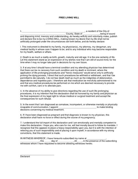 will document template best photos of free printable living will testament free