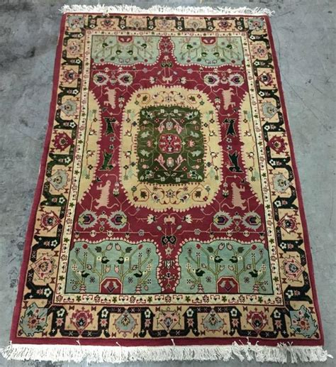large style rug gold and green