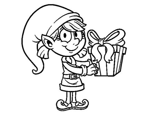 coloring page elf with present elf with a present coloring page coloringcrew com