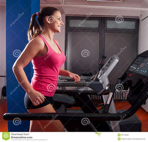 how to a to run on a treadmill beautiful smiling running on treadmill stock photo image 36119840