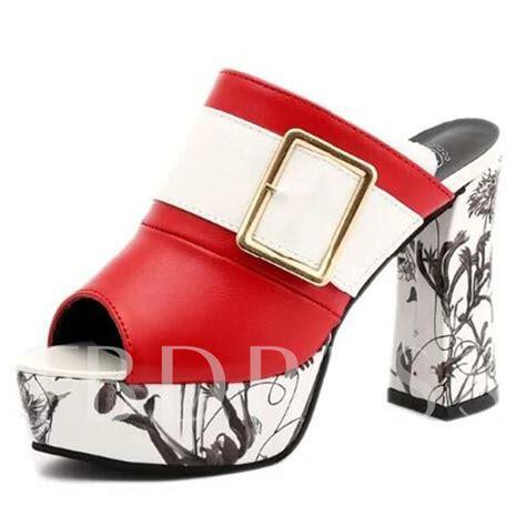 Block Heel Slide Sandals buckle block heel slip on mules shoes s slide