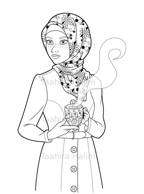 muslim hijabi coloring book page download muslimah lady