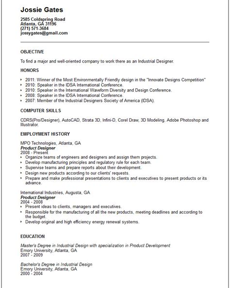 Resume Exles In Design Creative Arts And Graphic Design Resume Exles