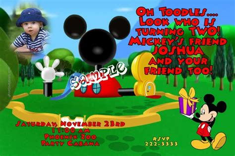 Birthday Invitation Card Mickey Mouse Mickey Mouse Clubhouse Birthday Invitations