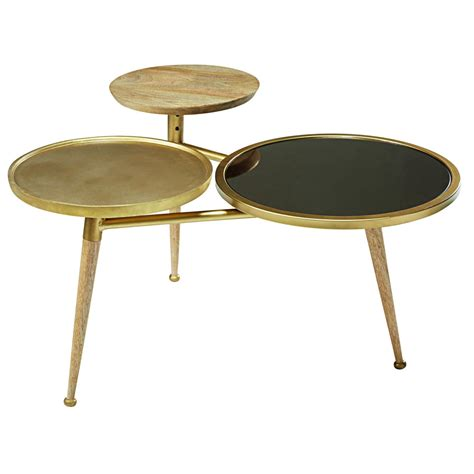 Gold Metal Coffee Table by Mango Wood And Gold Metal Coffee Table Gatsby Maisons Du