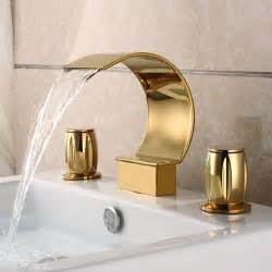 gold bathroom sink faucets mooni waterfall widespread sink faucet shiny gold