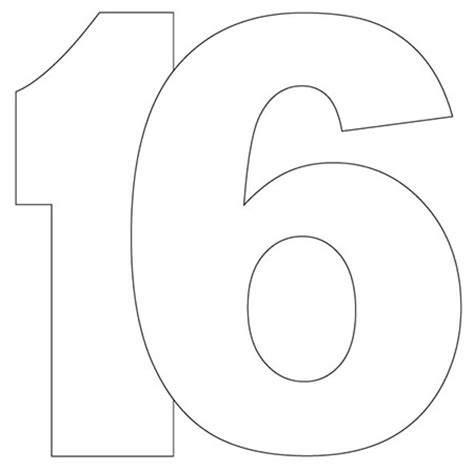 number 16 template 16 shaped card