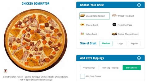 domino pizza medium size dominos best pizza and crust in india