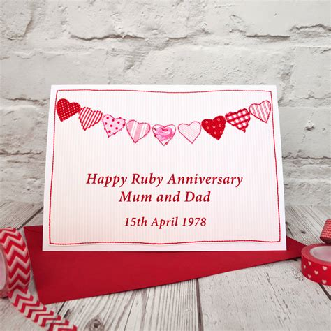 Ruby Wedding Anniversary Card And