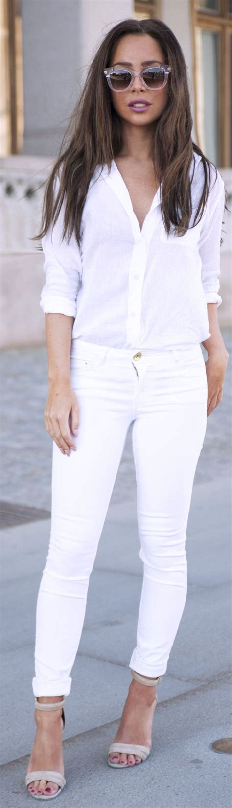 all white outfit on pinterest white outfits white denim and supply white women s summer button up threads