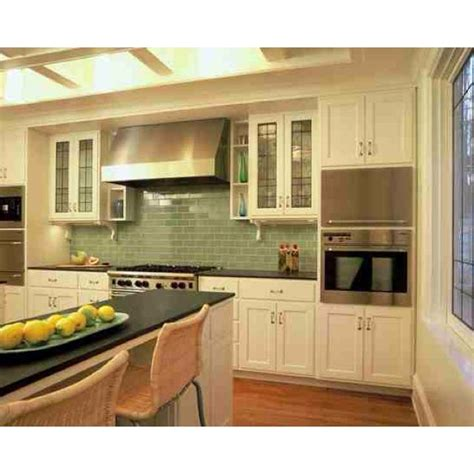 green subway tile backsplash home