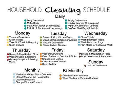 House Schedule by House Cleaning Chores