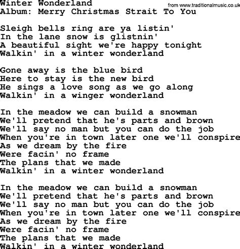 Printable Lyrics For Walking In A Winter Wonderland | winter wonderland by george strait lyrics