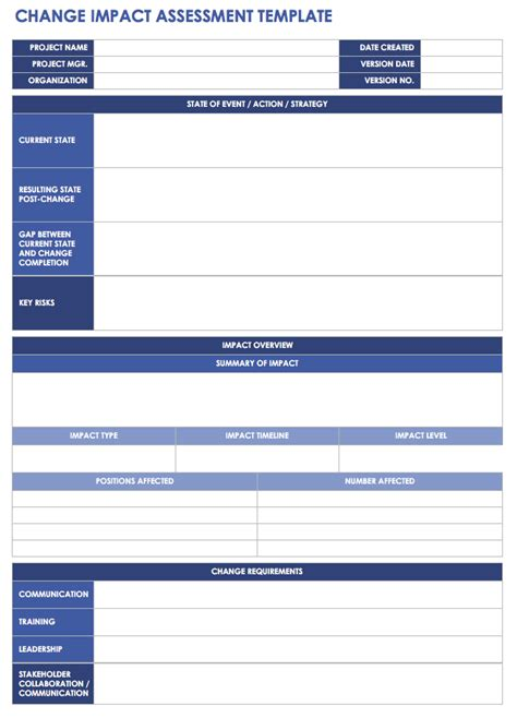 free change management templates smartsheet