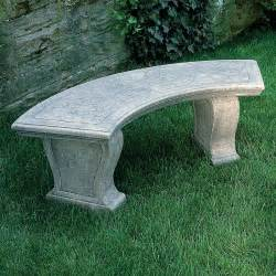 campania international curved leaf cast stone backless garden bench outdoor benches at hayneedle
