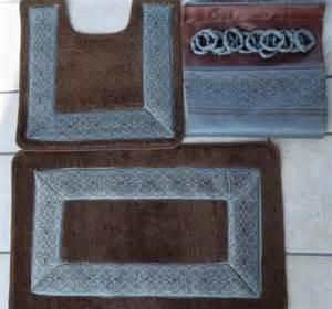 Brown And Blue Bathroom Rugs 15 Blue Brown Bathroom Shower Curtain Bath Mat Set 2 Mats Curtain Rings Ebay
