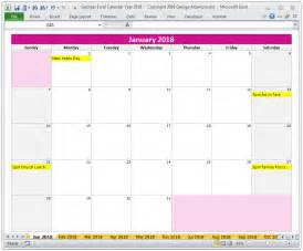 Calendar 2018 Buy 2018 Calendar Year In Excel Spreadsheet And
