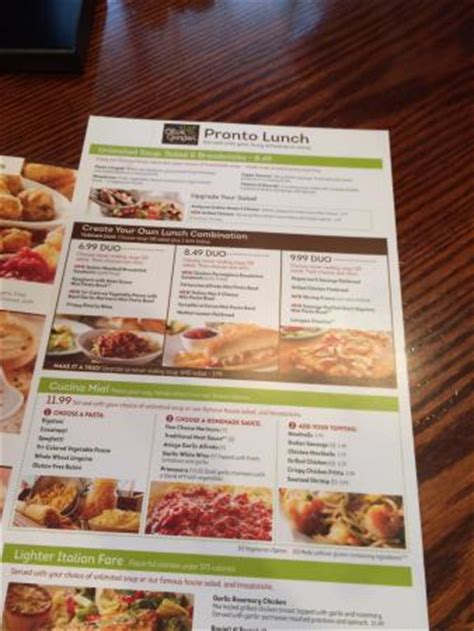 lunch menu picture of olive garden bellingham tripadvisor