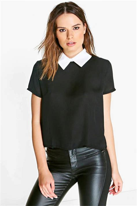 Womens Black Blouse With White Collar by Boohoo Womens Amelia Contrast Collar Blouse Ebay