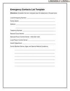 emergency contact template best photos of printable personal contact template