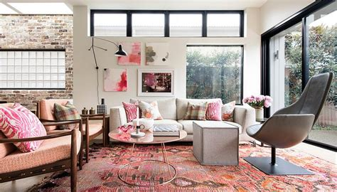 classy  cheerful pink living rooms