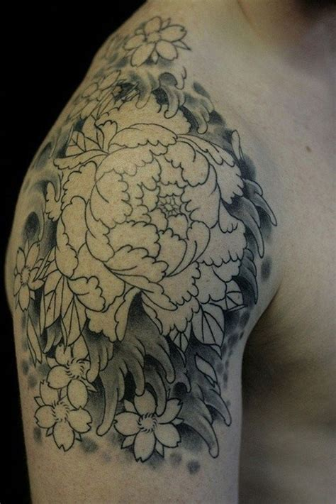 Japanese Peony Tattoo Black And Grey | peony flower tattoo designs with meanings