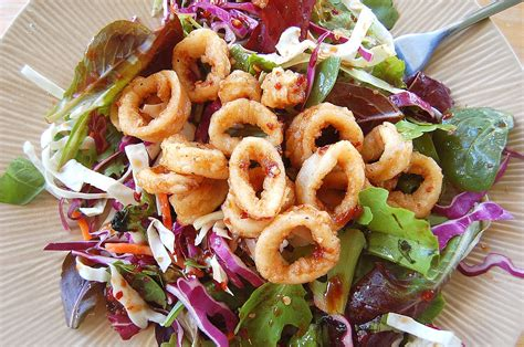 fried calamari salad calamari salad recipes dishmaps