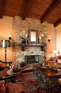 Mediterranean Decorating Style - rustic stone fireplace