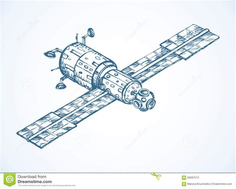 doodle radio wave satellite with dish antenna vector doodle sketch stock