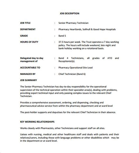 Responsibility Of A Pharmacist by 9 Pharmacy Technician Description Templates Free Sle Exle Format Free