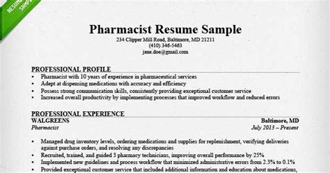 Pharmacy Resume by Pharmacy Resume Sle Sle Resumes