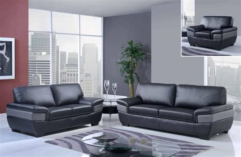 gray modern sofa set trendy black and grey contemporary bonded leather