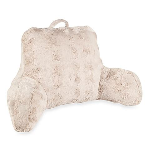 bed sitting pillow crystal fur backrest in taupe www bedbathandbeyond com