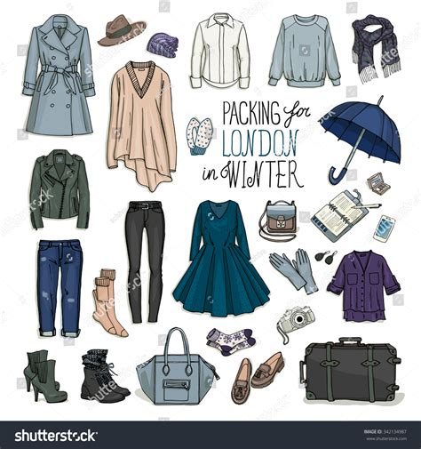 design clothes london vector illustration packing london winter sketch stock