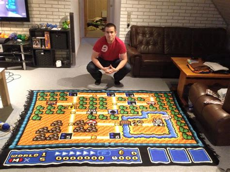 mario bros rug spends 6 years crafting awesome mario bros 3 map is for your living
