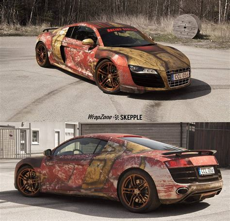 wrapped r8 audi r8 v10 with rust themed iron man wrap by skepple