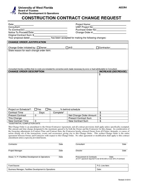 construction change order form template best photos of construction change order request form