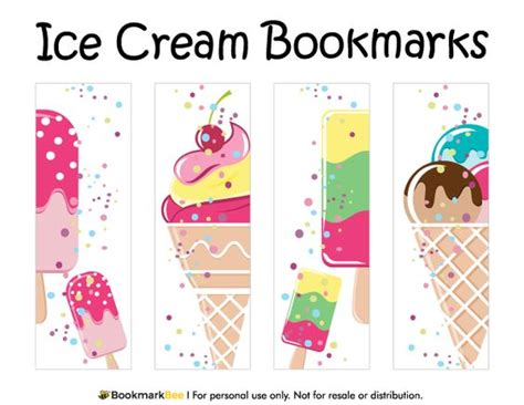 printable bookmarks pdf free printable ice cream bookmarks download the pdf
