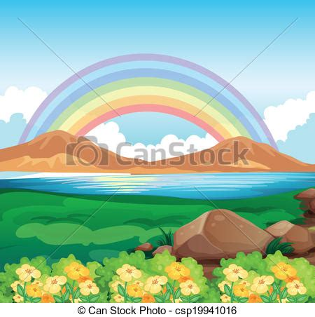 rainbow house beautiful nature phenomenon vector logo icon vector clip art of a view of the rainbow and the beautiful