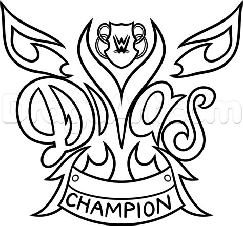paige wwe coloring page how to draw the wwe diva chionship belt step by step