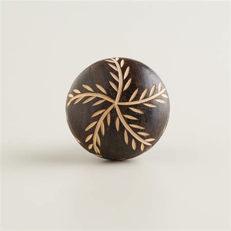 Brown Knobs by Brown Carved Wood Vine Knobs Set Of 2 World Market