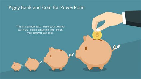 Piggy Bank And Coin For Powerpoint Slidemodel Powerpoint Challenge Coin Template