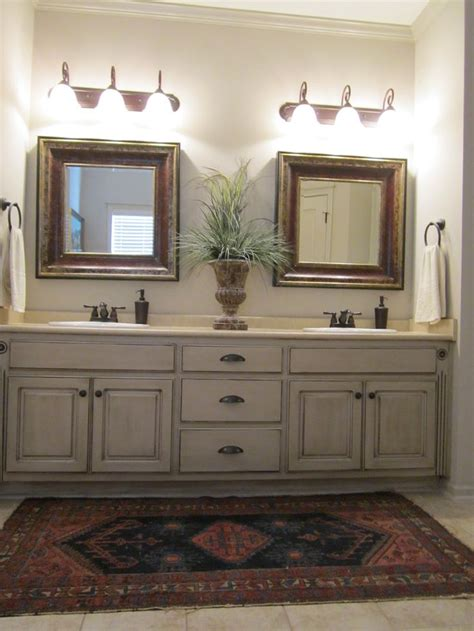 Painting Bathroom Cabinets Ideas Painted And Antiqued Bathroom Cabinets Bathrooms Master Bath Sinks And