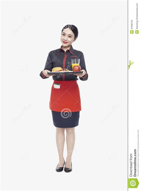 carrying food waitress carrying tray with food studio royalty free stock photo image