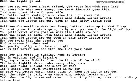 Lights Out Words by Bruce Springsteen Song When The Lights Go Out Lyrics