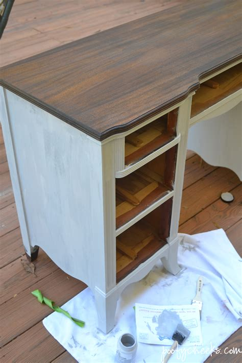 desk painting ideas poofy cheeks two toned chalk paint vintage desk redo